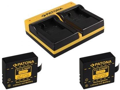 Incarcator dual USB cu placute + 2 acumulatori tip SJCAM SJ4000 SJ5000 SJ6000